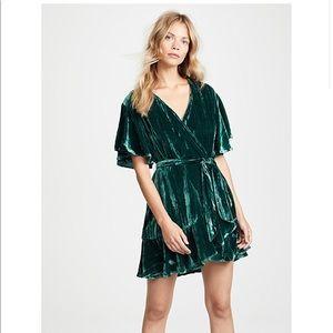 BB Dakota Velvet Green Dress